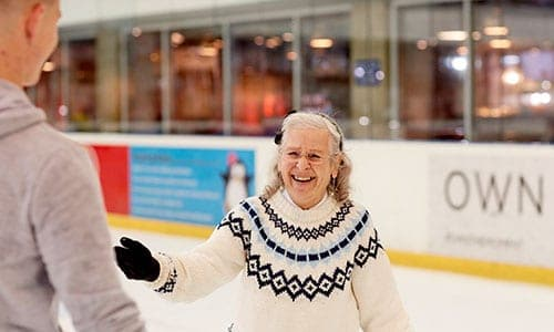 happy lady on ice