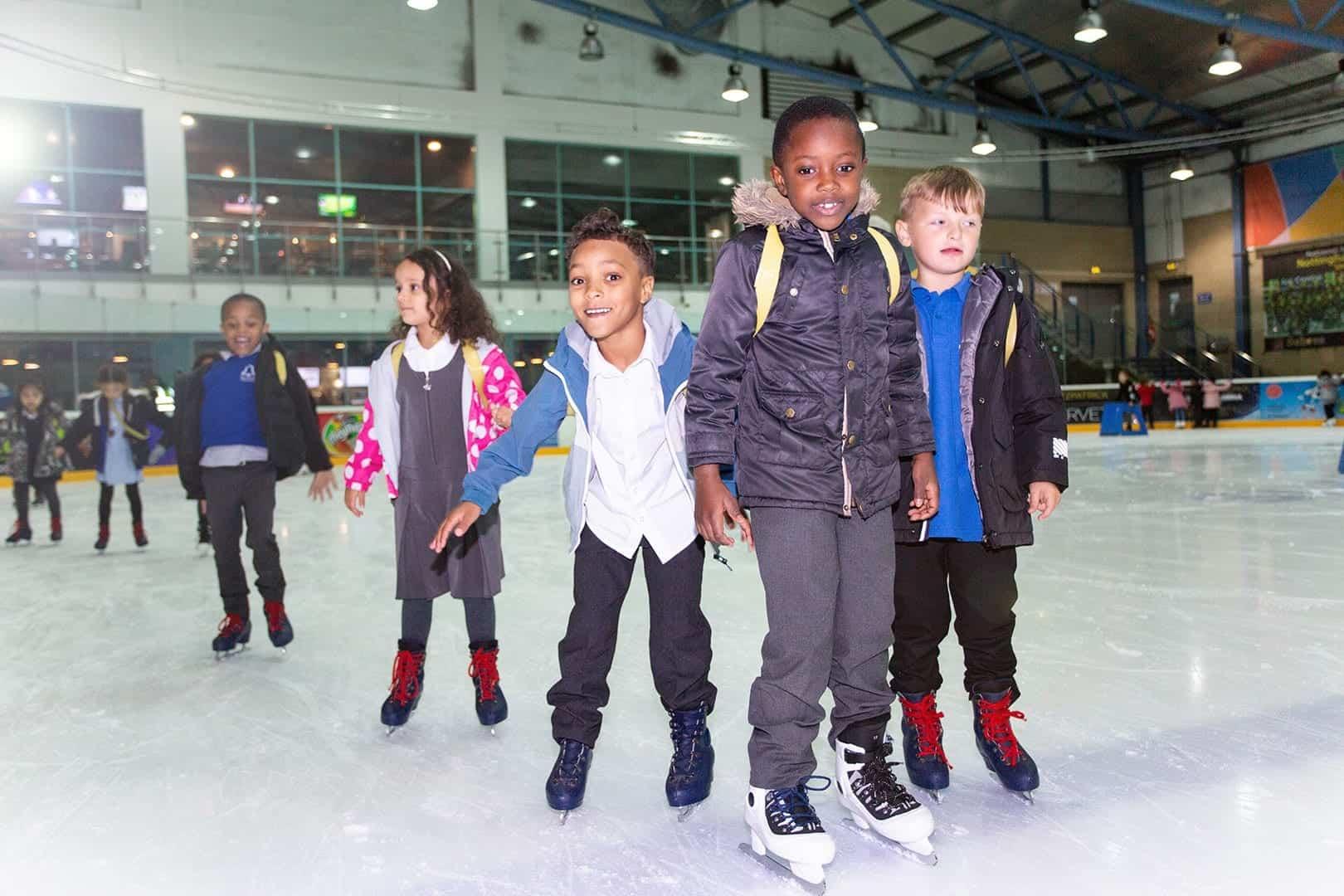 school children on ice