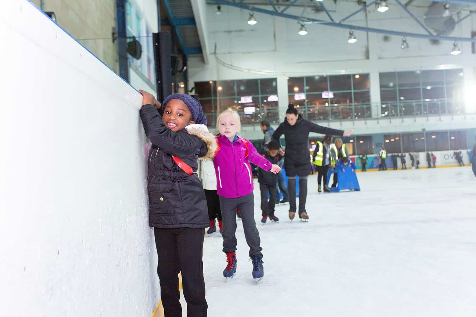 school kids having fun on ice