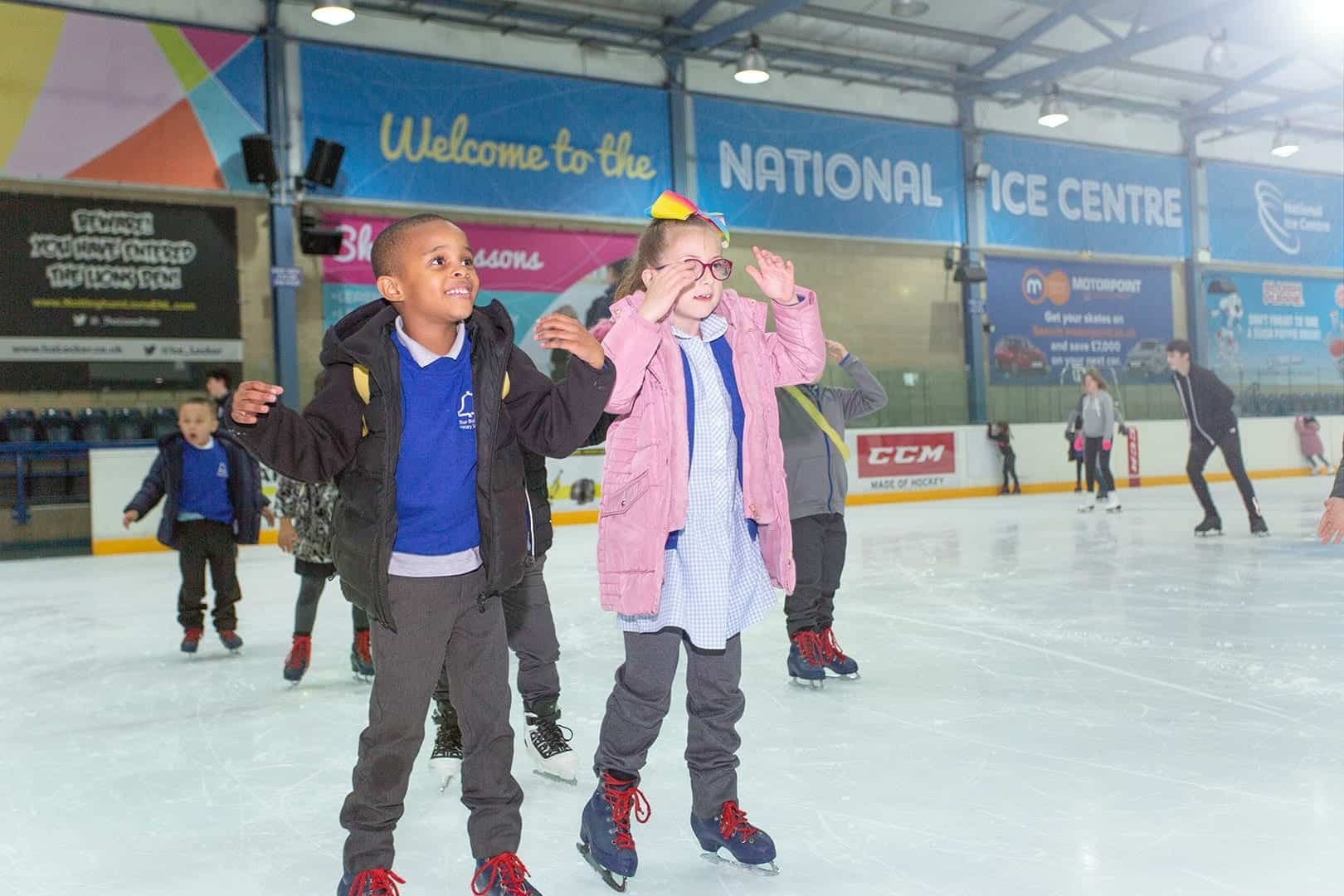 school kids on ice